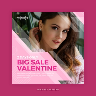 Pink valentine instagram promo mídias sociais