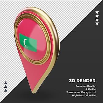 Pino de localização 3d bandeira das maldivas renderizando vista direita