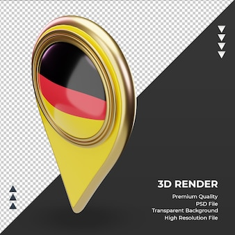 Pino de localização 3d da bandeira da alemanha renderizando a vista direita