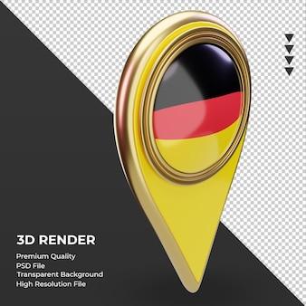 Pino de localização 3d da bandeira da alemanha renderizando a vista esquerda