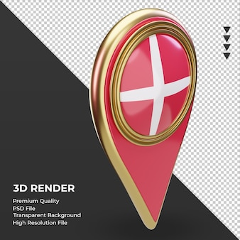Pino de localização 3d da bandeira da dinamarca renderizando a vista esquerda