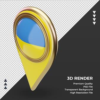 Pino de localização 3d da bandeira da ucrânia renderizando a vista correta