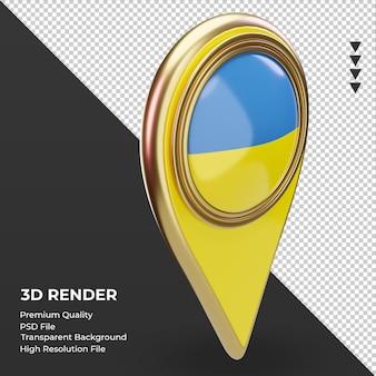 Pino de localização 3d da bandeira da ucrânia renderizando a vista esquerda