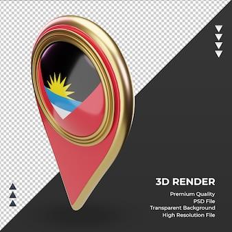 Pino de localização 3d da bandeira de antígua e barbuda renderizando a vista correta