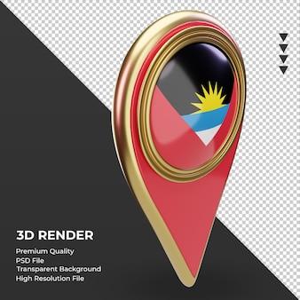 Pino de localização 3d da bandeira de antígua e barbuda renderizando a vista esquerda