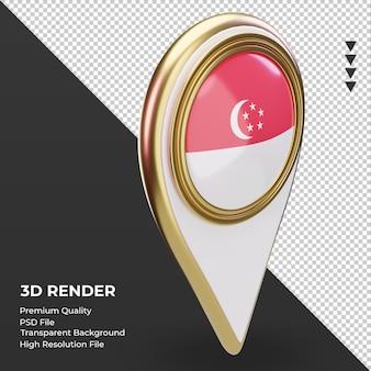 Pino de localização 3d da bandeira de cingapura renderizando a vista esquerda