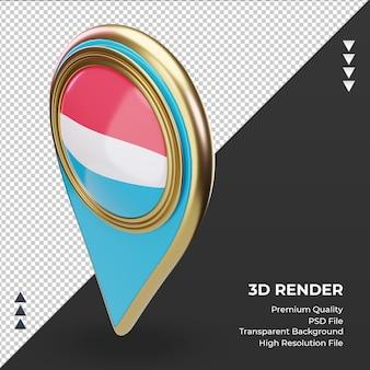 Pino de localização 3d da bandeira de luxemburgo renderizando a vista direita