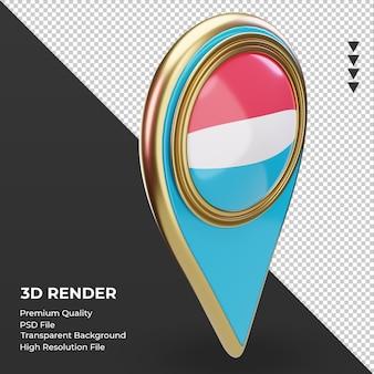 Pino de localização 3d da bandeira de luxemburgo renderizando a vista esquerda