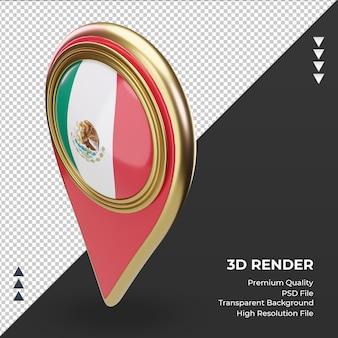 Pino de localização 3d da bandeira do méxico renderizando a vista direita