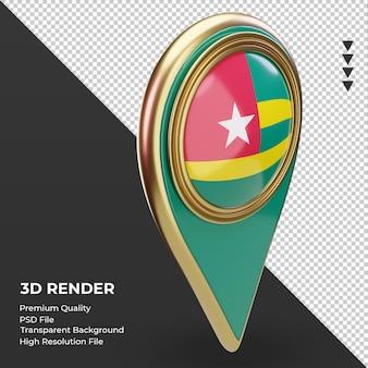 Pino de localização 3d da bandeira do togo renderizando a vista esquerda