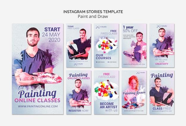 Pintando aulas online instagram stories