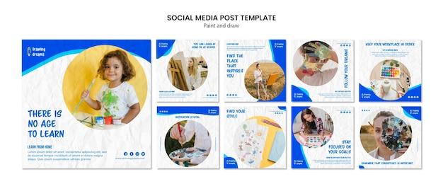 Pintar e desenhar modelo de postagem de mídia social