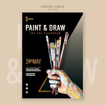 Pintar e desenhar panfleto