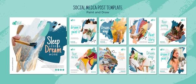 Pintar e desenhar post de mídia social
