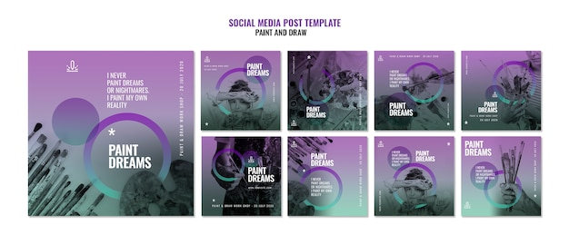 Pintar sonhos mídias sociais postar modelos