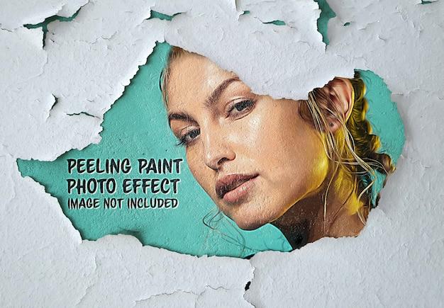 Pinte o efeito de foto em maquete de superfície de parede descascada