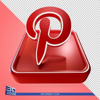 Pinterest na caixa brilhante ícone de renderização 3d em renderização 3d