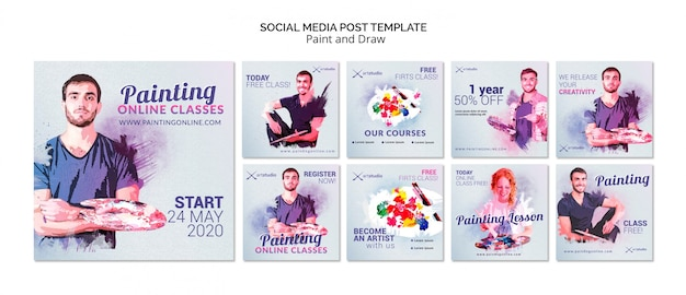 Pintura aulas on-line post de mídia social