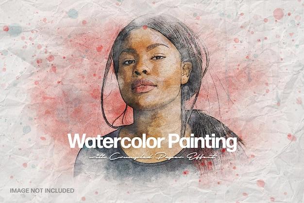Pintura em aquarela sobre efeito de foto de papel amassado
