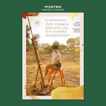 Pintura fora do modelo de cartaz de anúncio