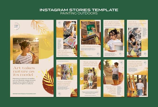 Pintura fora do modelo de histórias do instagram