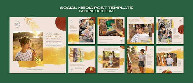 Pintura fora do modelo de postagem de mídia social