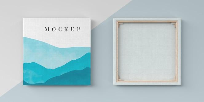 Pintura mock de tela com tecido de linho