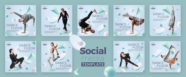 Pista de dança mídias sociais pós tempalte