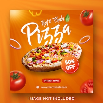 Pizza comida menu promoção instagram post banner modelo
