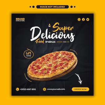 Pizza deliciosa promoção de menu de comida modelo de banner de postagem no instagram