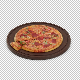 Pizza isométrica tábua de madeira