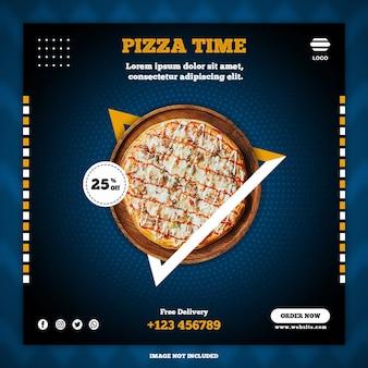 Pizza mídia social postar modelos de banner