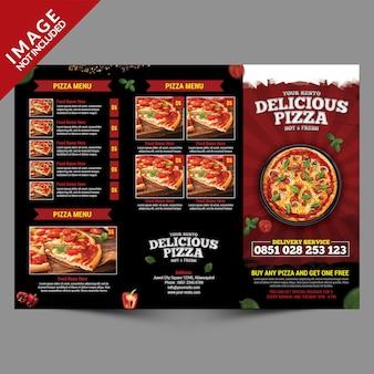 Pizza serviço de entrega com três dobras menu modelo outisde