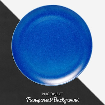 Placa cerâmica redonda azul em fundo transparente