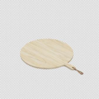 Placa de corte de madeira isométrica