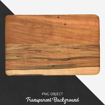 Placa de corte de madeira retangular em fundo transparente
