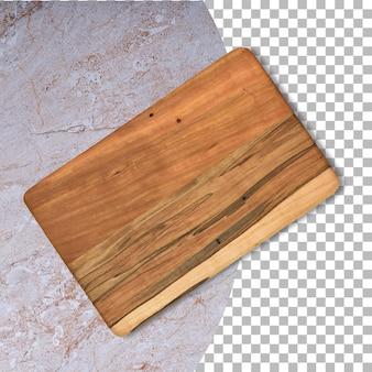 Placa de corte de madeira velha isolada em fundo de transparência.