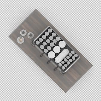 Placa de cozinha isométrica 3d render