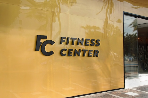 Placa de fachada amarela moderna maquete de logotipo