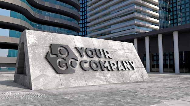 Placa de fachada com logotipo 3d de maquete de concreto em frente a um edifício moderno