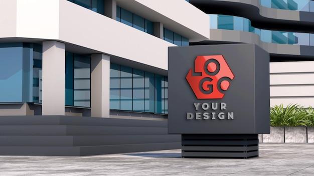 Placa de fachada com logotipo 3d de maquete em frente a um edifício moderno
