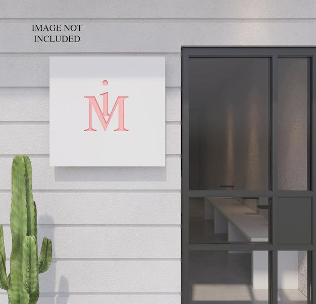 Placa de logotipo em perspectiva na parede da frente da loja