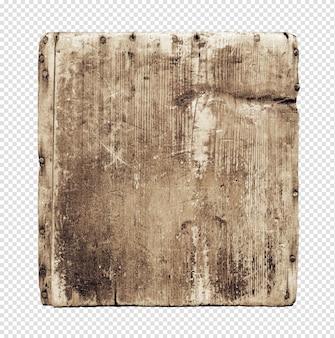 Placa de madeira velha grunge isolada no branco