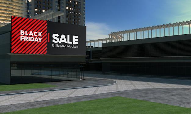 Placa de mega sign na parede mockup de shopping center com black friday sale banner