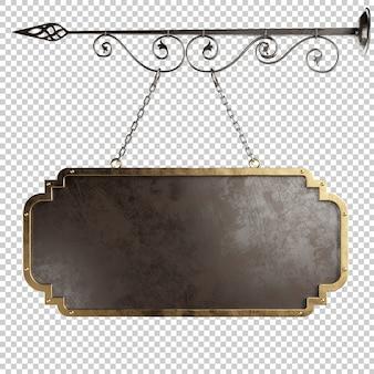 Placa de metal medieval pendurada em correntes