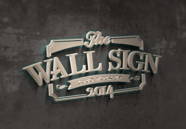Placa de parede - maquete de texto ou logotipo