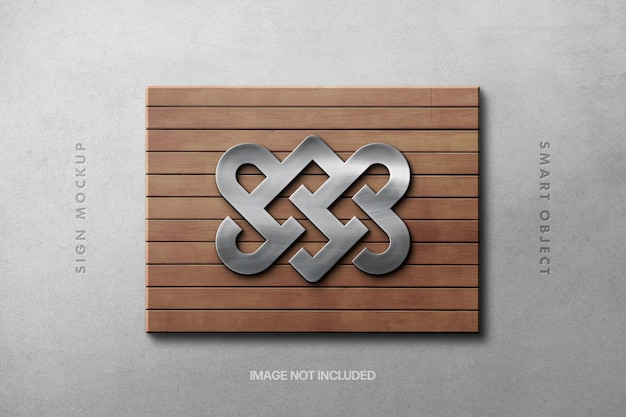Placa de prata em uma maquete de logotipo de plataforma de madeira