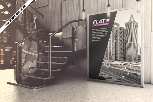 Placa de publicidade em maquete do salão de exposição