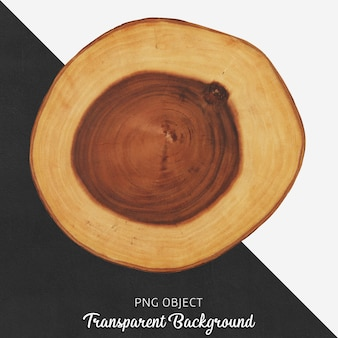 Placa de servir redonda de madeira em fundo transparente