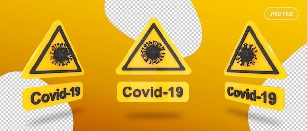 Placa de sinalização de alerta covid isolada